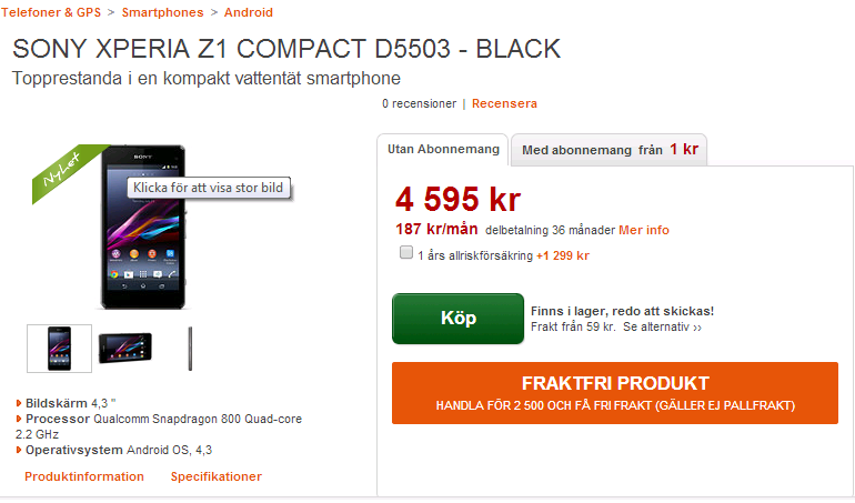 Xperia Z1 Compact landed in the Sweden, costs €520