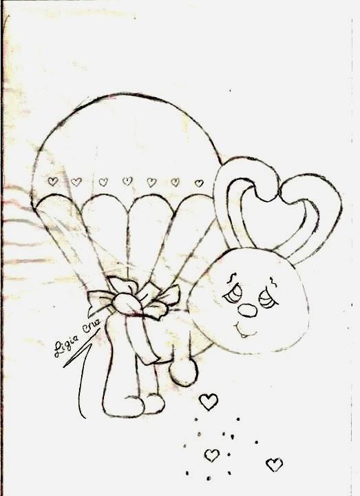 desenho de coelhinha caindo de paraquedas para pintar