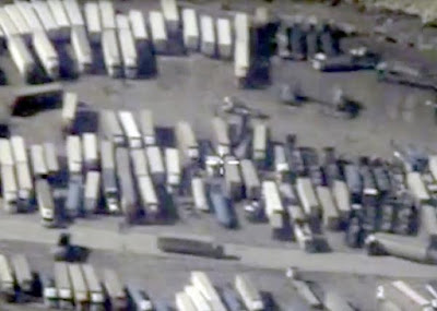 Satellite Images of oil containers crossing syria turkey border