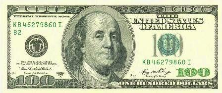 Rostro de Benjamin Franklin en los billetes de 100 dólares