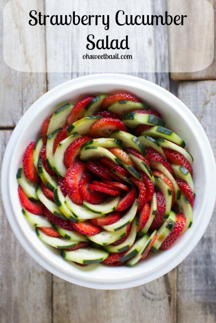 Strawberry Cucumber Salad from Oh Sweet Basil