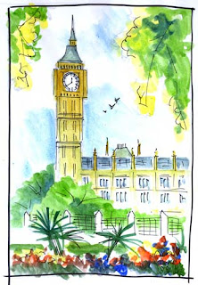 Big Ben London - Line and Wash sketch