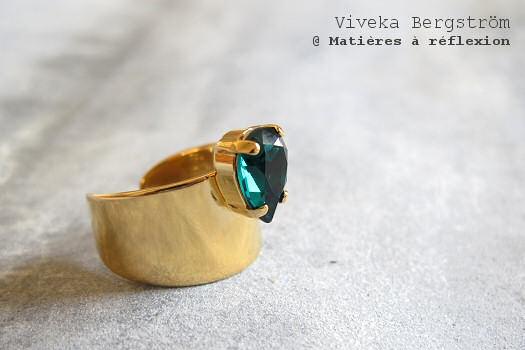 Bague Viveka Bergström cristal vert