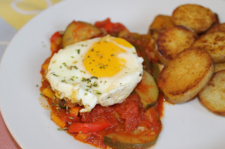pisto manchego with sauteed potatoes