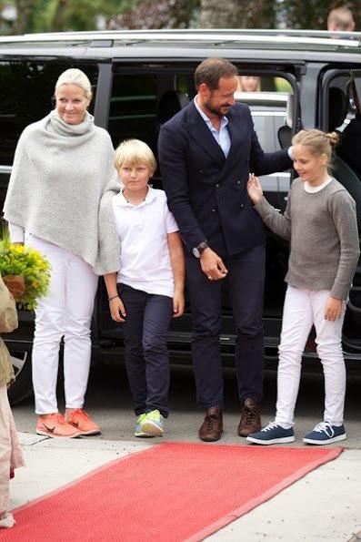 Crown Princess Mette-Marit of Norway, Crown Prince Haakon of Norway and Prince Sverre Magnus of Norway, Princess Ingrid Alexandra of Norway