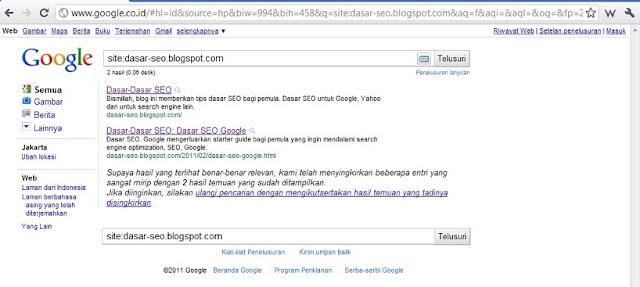 Cara Melihat/Cek Index Halaman Blog di Google