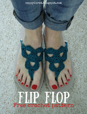 Free Pattern for Crochet Flip Flops, shared by Happy in Red