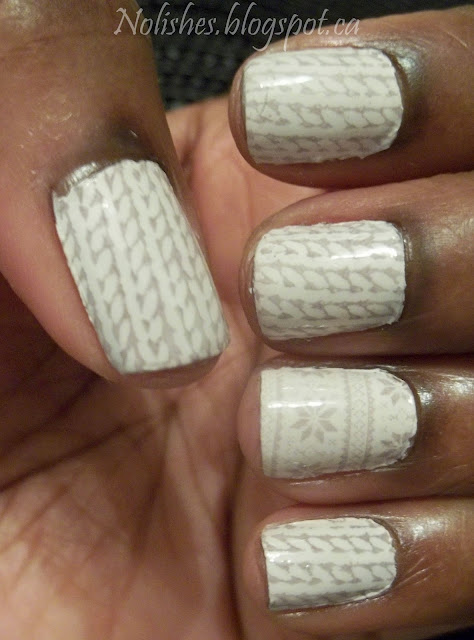 Nail Stamping manicure featuring Stockinette Stitch Knitting Pattern print and ring finger accent nail with nordic snowflake knit sweater print