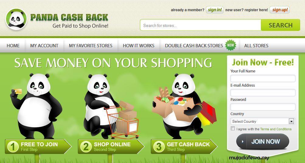 panda cashback, shopping online, jimat sambil shopping, dapat duit untuk shopping
