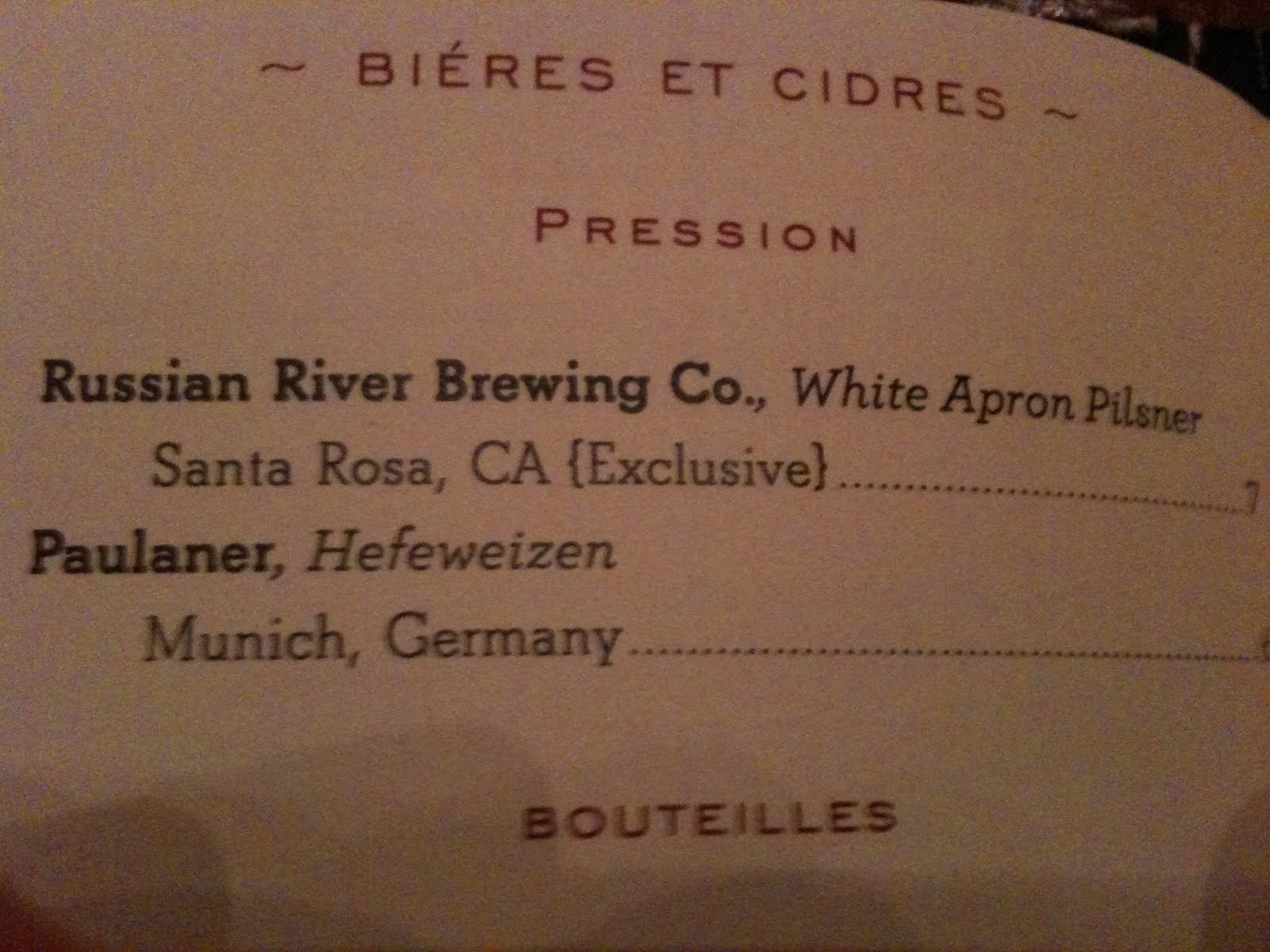 White apron ale - And What Was This On The Beer Menu It S Only Another Exclusive Beer This Time Brewed By One Of My Favourite Us Breweries Russian River