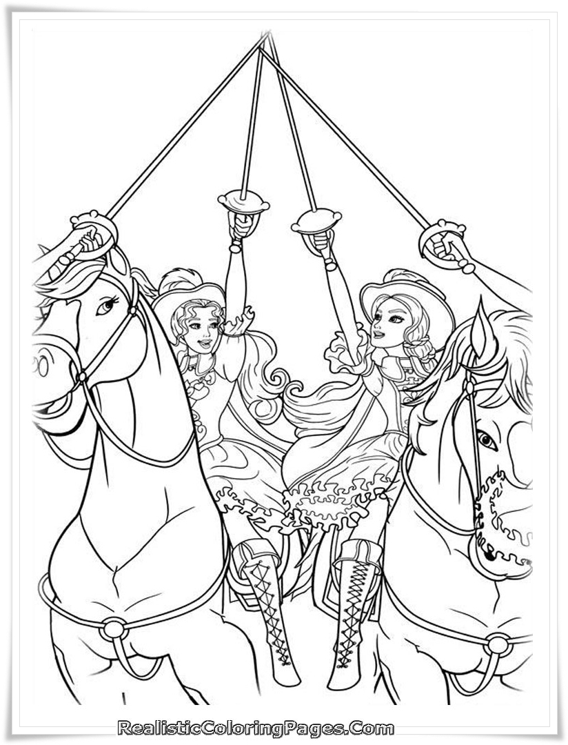 Free Coloring Pages Barbie Three Musketeers : Barbie and the three musketeers coloring pages realistic