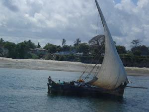 Dhow off Zanzibar Beach