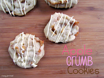 crumb apple cookies on cutting board