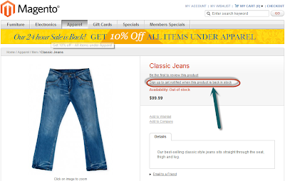 Magento product stock back alert