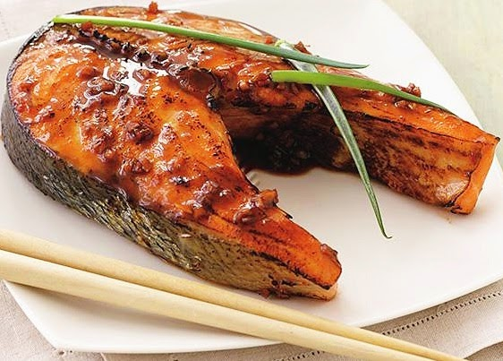 Grilled Salmon Steak with Ginger and Soy Sauce Recipe
