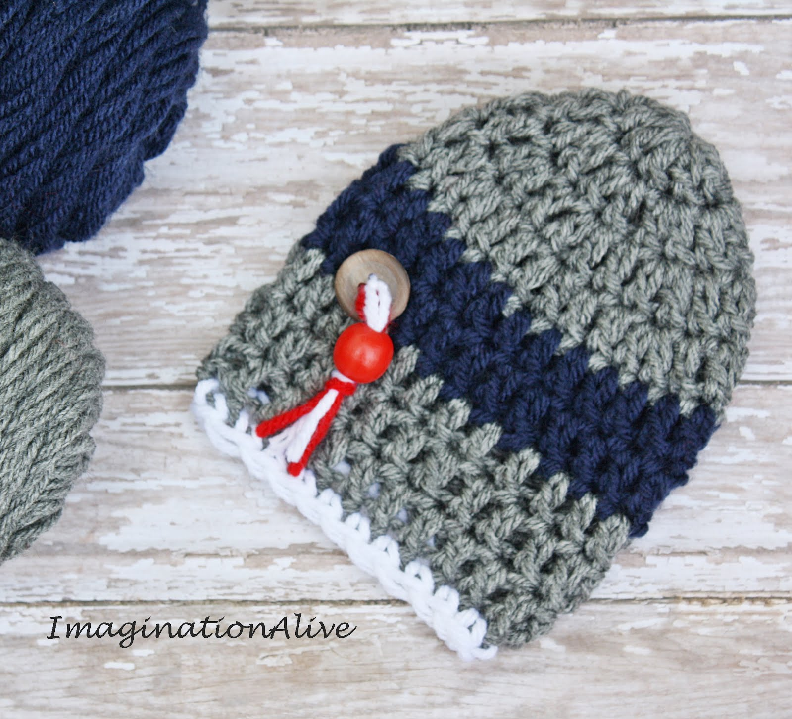 Heather Gray and Navy Baby Hat