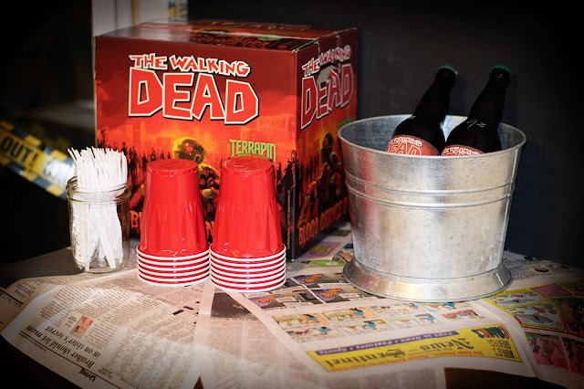 The drink station with Walking Dead IPA