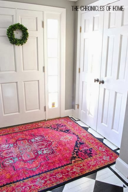 Foyer Rug Placement : Bold pink entryway rugs