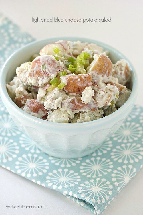 light blue cheese potato salad made with Greek yogurt