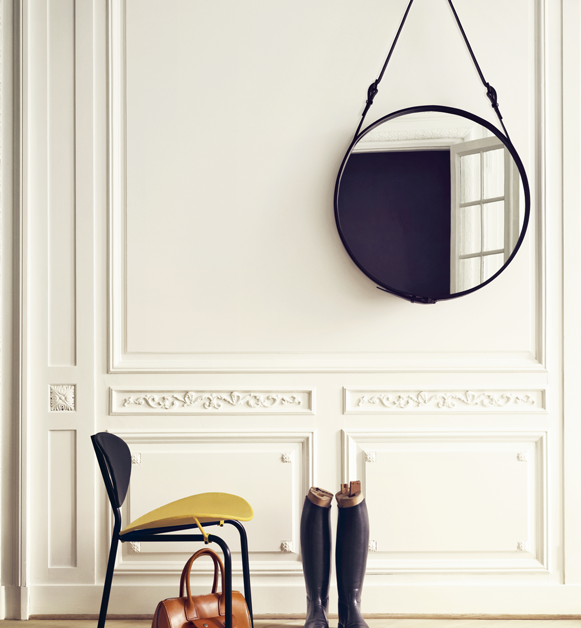 round leather mirror vintage spotted on remodelista these stylish round leather campaignstyle mirrors designed by french architect jacques adnet 19001984 round leather mirror interior innovation design