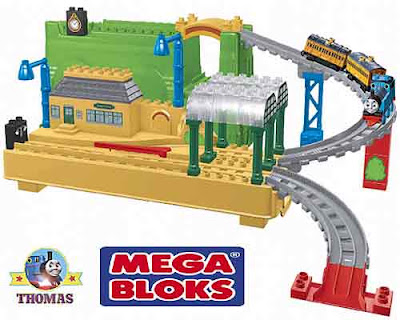Toddlers all aboard building brick Mega Bloks Thomas the train Annie and Clarabel passenger coaches