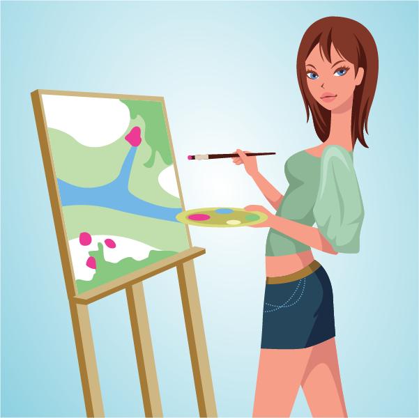 chica pintando - vectorial