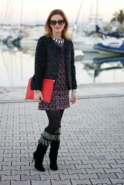 zara starry print dress, fake fur jacket, cesare paciotti boots, Fashion and Cookies, fashion blogger