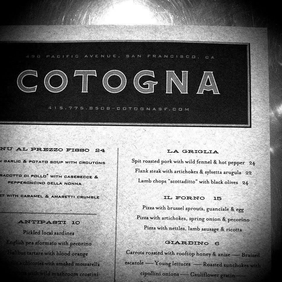 Cotogna Menu