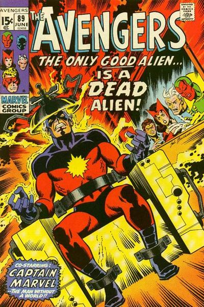 Avengers 89, Captain Marvel, the Only Good Alien is a Dead Alien, Kree Skrull War, electric chair, cover by Sal Buscema