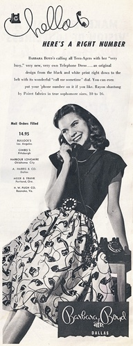 Bobbie Brooks telephone skirt ad Just Peachy, Darling