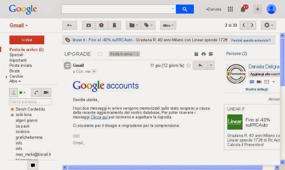 """seconda, invece, viene fatta figurare come inviata da Gmail e ha come oggetto """"UPGRADE"""""""