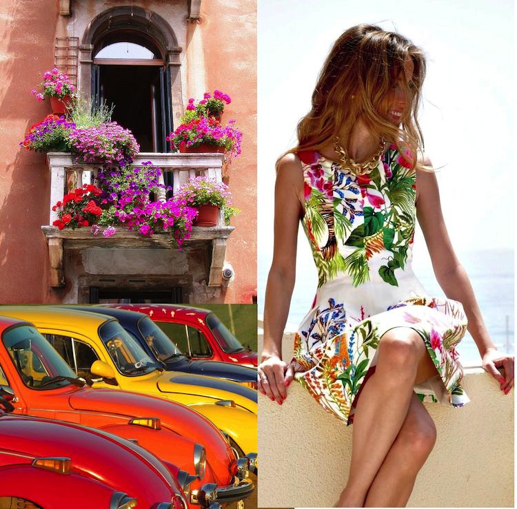 fleurs, feuilles, balcon, couleurs, voitures