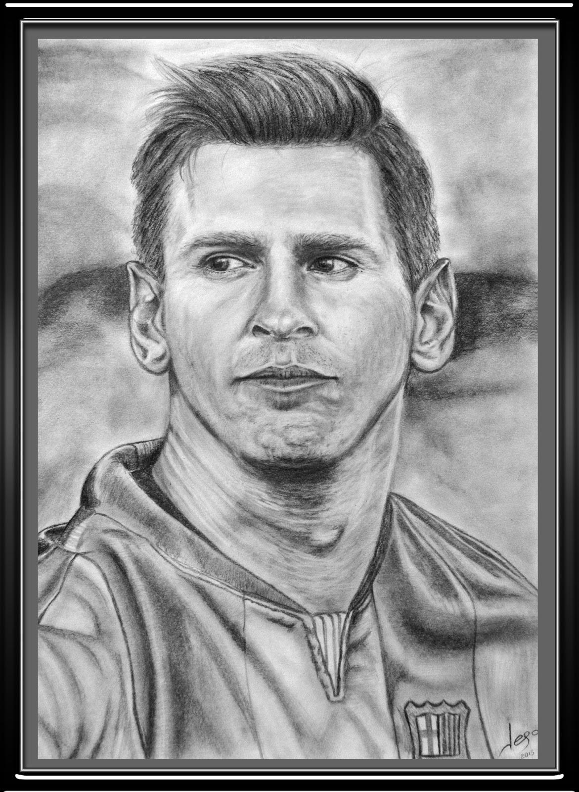 Retratos realistas y dibujos Retrato realista de Lionel Messi