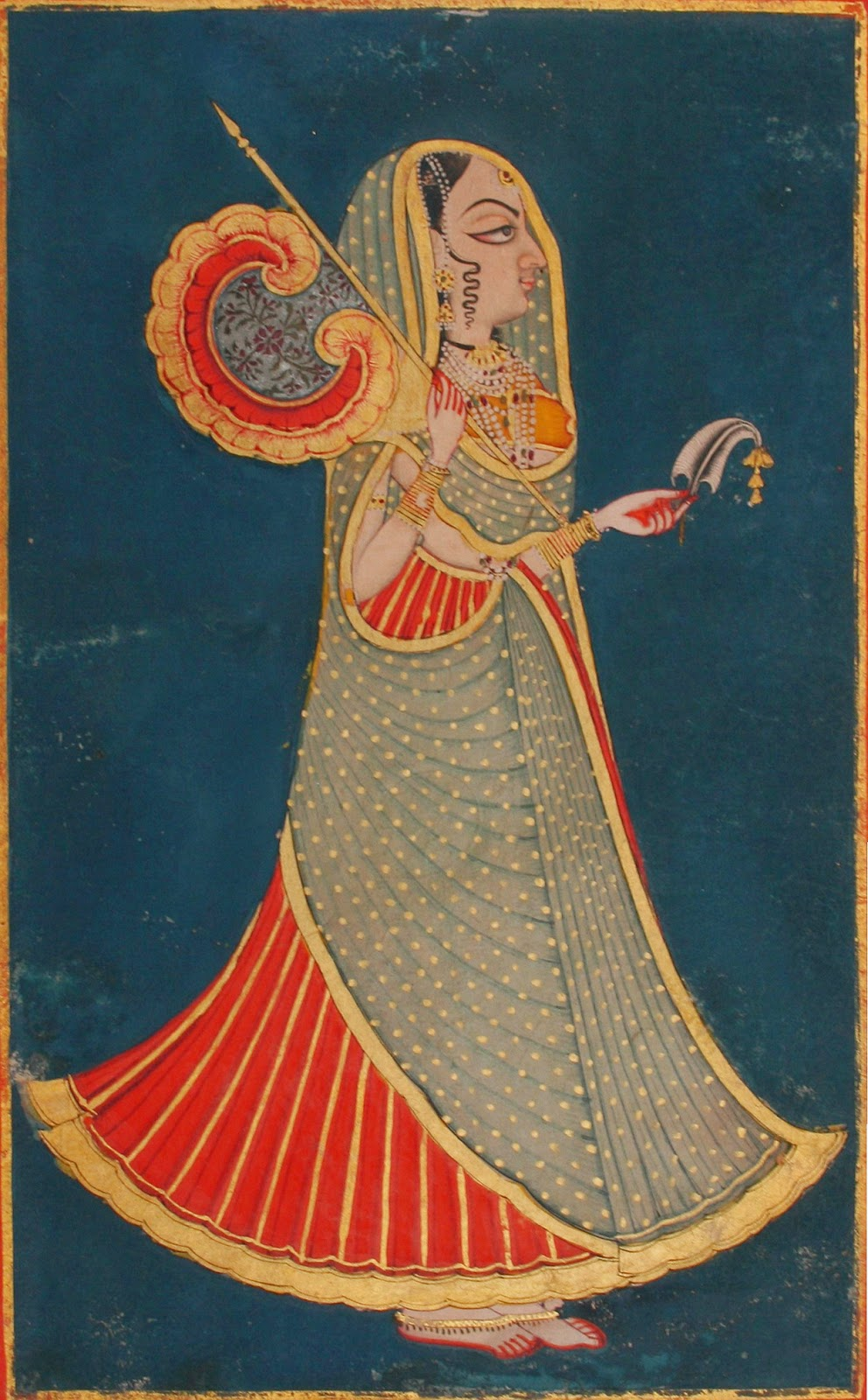 Jodhpur princess with fan and royal pankha and sarpech (fan and turban ornament) - Jodhpur, Rajasthan, c1820-40