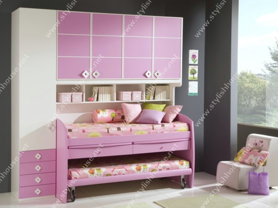More stylish idea of pink beds for princesses room