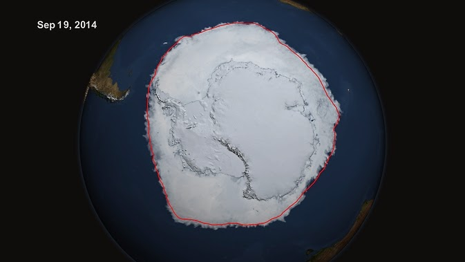 On Sept. 19, 2014, the five-day average of Antarctic sea ice extent exceeded 20 million square kilometers for the first time since 1979. The red line shows the average maximum extent from 1979-2014. (Credit: NASA's Scientific Visualization Studio/Cindy Starr)  Click to Enlarge.