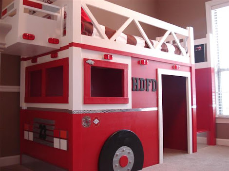 Fabulous Jeff took our playhouse loft bed plans and made some modifications and turned it into the most amazing fire truck bed that any little boy could sleep in