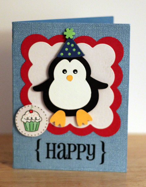 katherine's stamping with heart a happy penguin birthday card, Birthday card