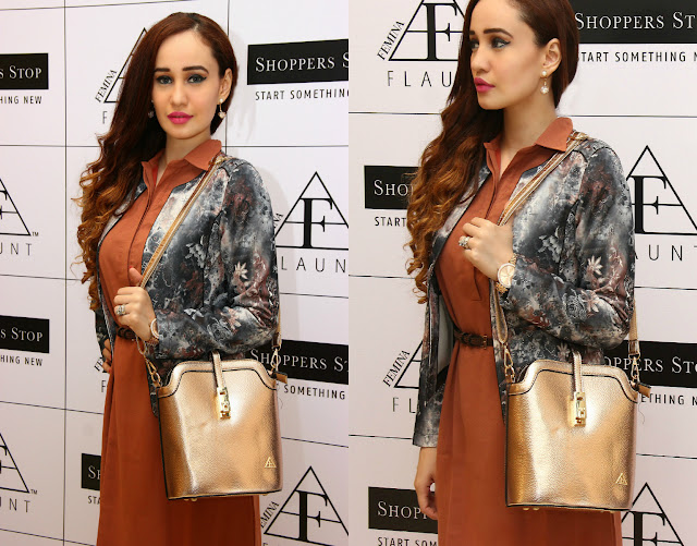 Femina FLAUNT Launch '15 at Shoppers Stop, Tan Dress, Floral Scuba Jacket,Rose Gold Metallic Handbag