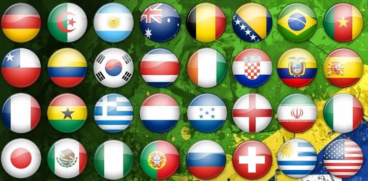 Bandeiras dos times participantes da Copa 2014 para formulação de palpites interessantes e geniais da Loteca 612.