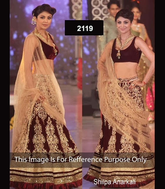 hilpa shetty maroon & gold moss bollywood replica velvet lehenga