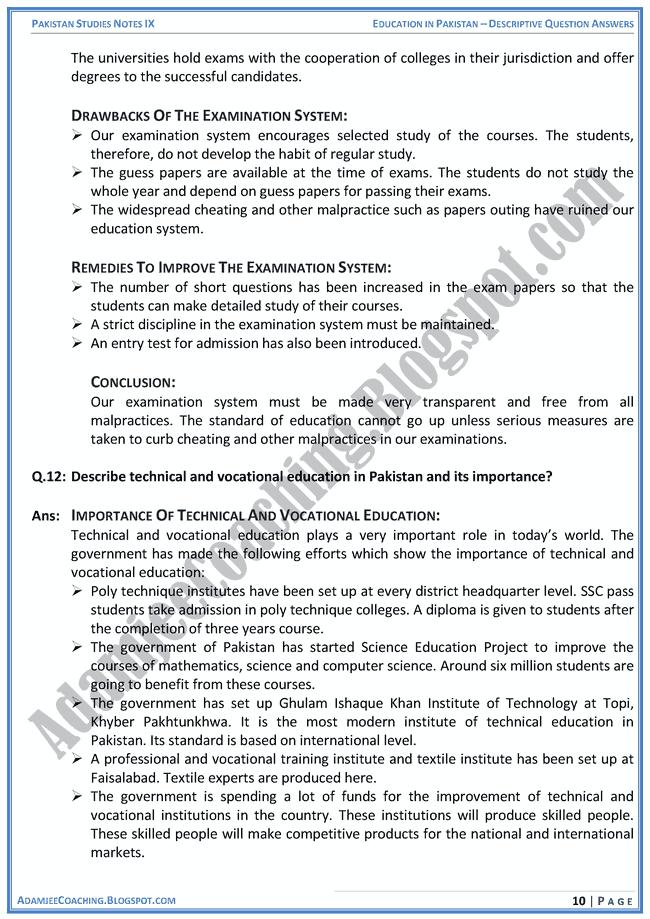 education-in-pakistan-descriptive-question-answers-pakistan-studies-ix