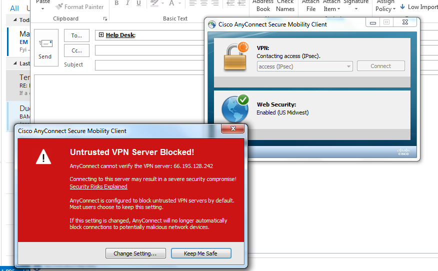 Help Desk Cisco Anyconnect Untrusted Vpn Server Blocked