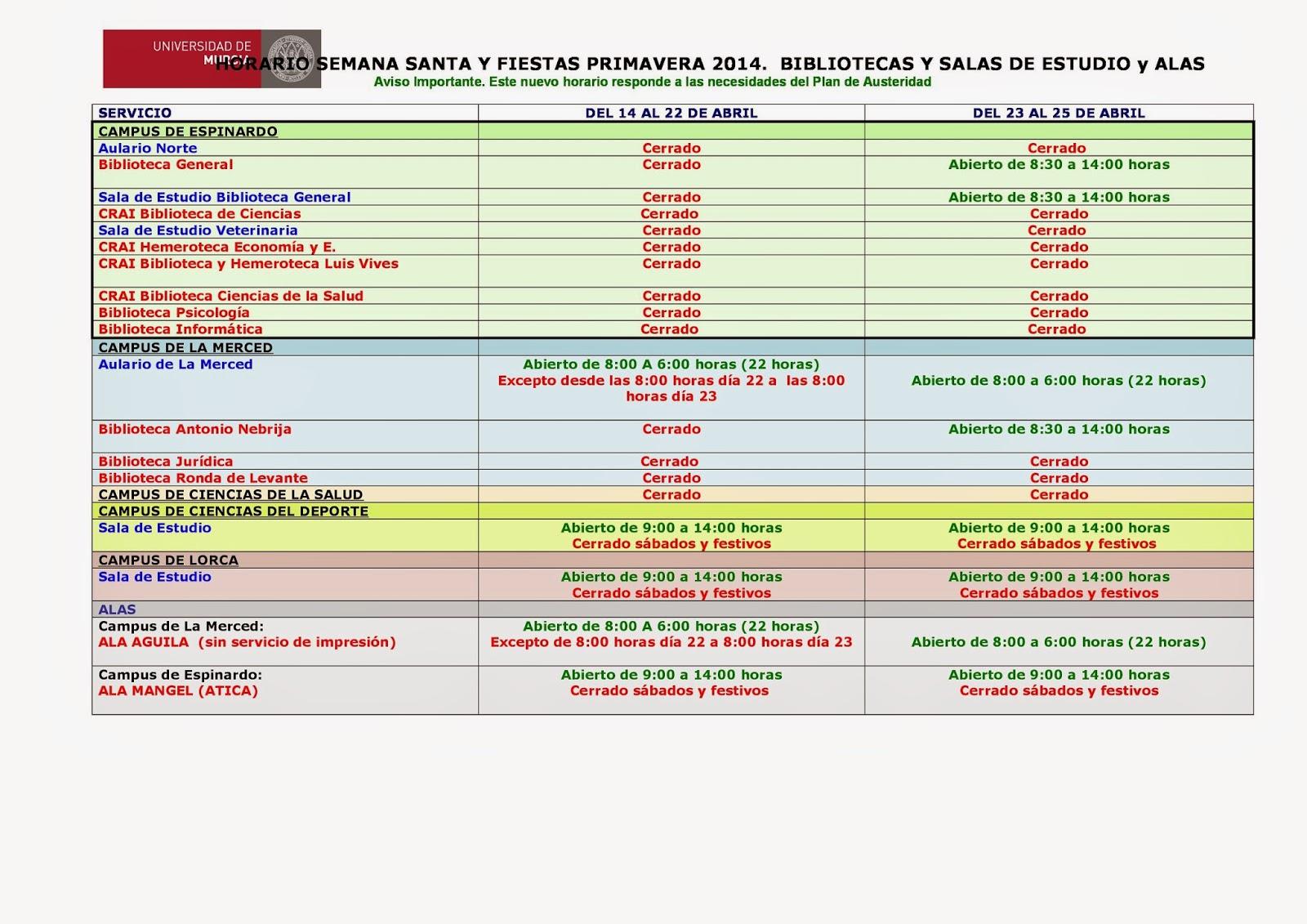 Horario extraordinario Semana Santa 2014