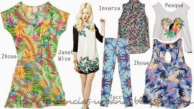 estampado tropical moda primavera verano 2014