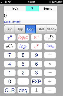 iOS App SciStatCalc screenshot Third segment of scientific calculator - natural logarithm, base-10 logarithm, power functions , n choose r function (combination, permutation )