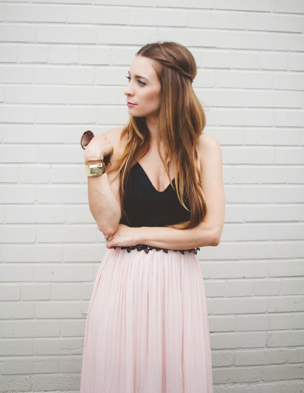 Ootd Blush Maxi Skirt And Black Lace Crop Top La Petite Noob A