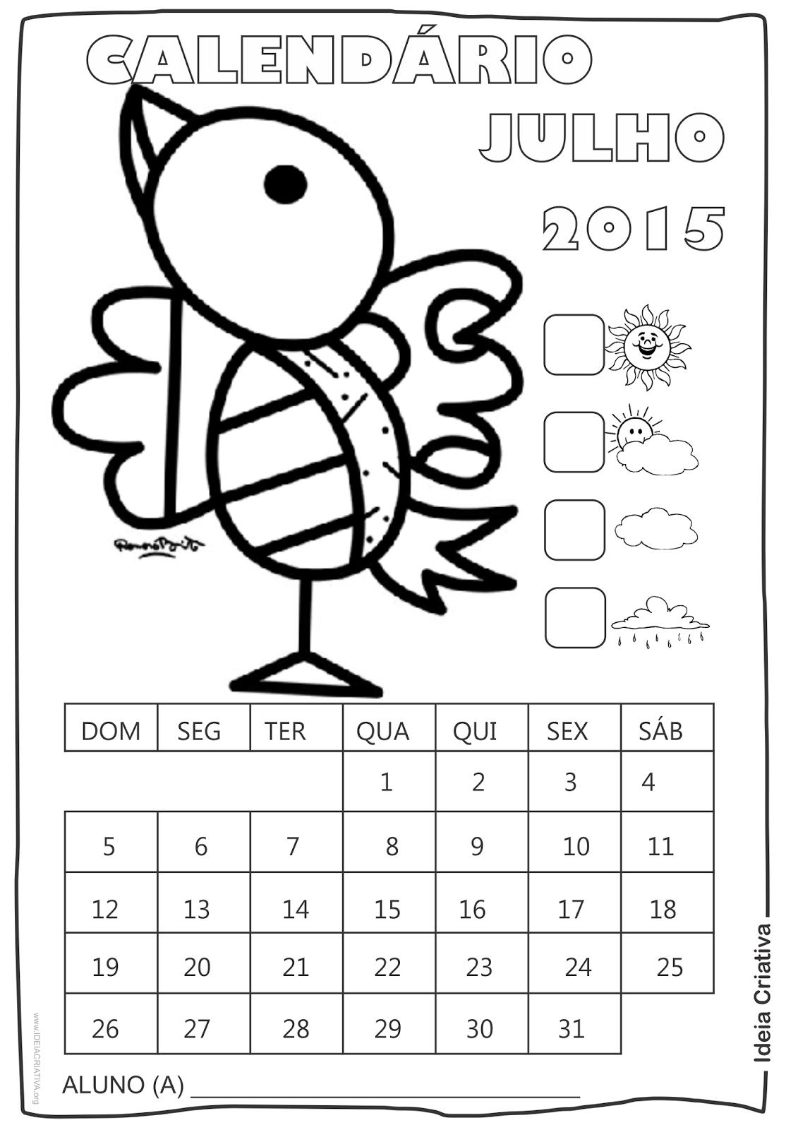 Calendário  Julho 2015 com Desenho Passarinho de Romero Britto para Colorir