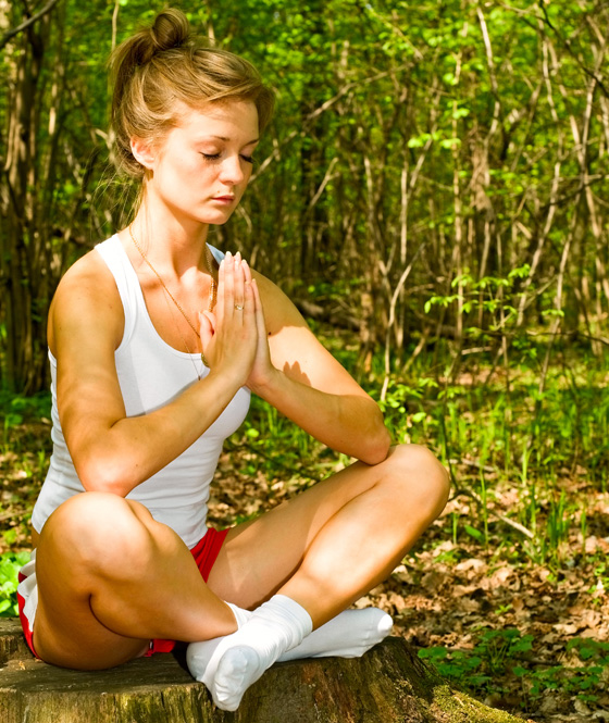 girl in meditation pose