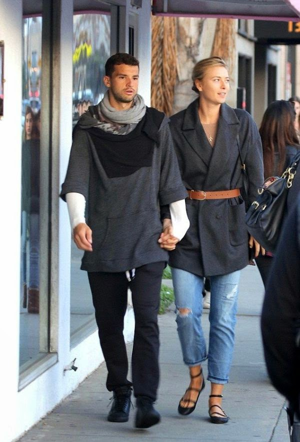 Walking through the street at Venice, California, USA on Sunday, December 21, 2014, Maria Sharapova and boyfriend, Grigor Dimitrov appeared happy to never ending on romantic moment.